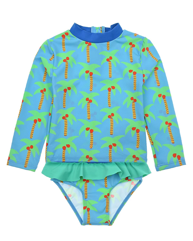 Купить Пляжный комплект с принтом пальмы Stella McCartney детский, Нет цвета, 78%полиамид+22%эластан. 100%полиэстер