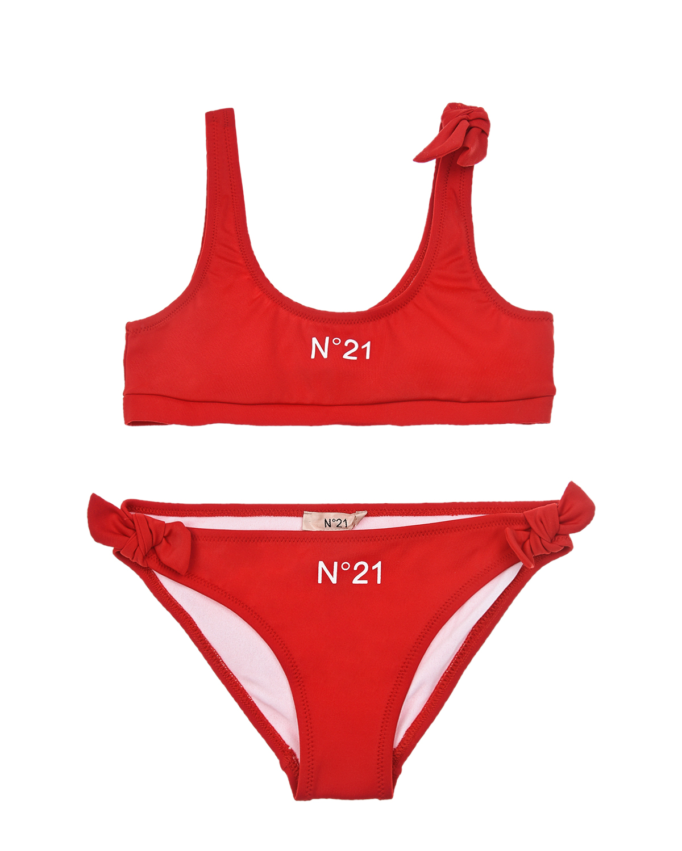 Купить Красный купальник с лого No. 21 детский, 80%нейлон+20%эластан, 80%полиамид+20%эластан, 100%нейлон, 100%полиамид