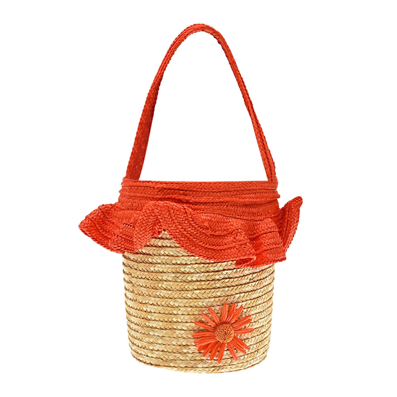 Купить Соломенная сумка, 30x17x17 см Aletta детская, Оранжевый, 100%солома