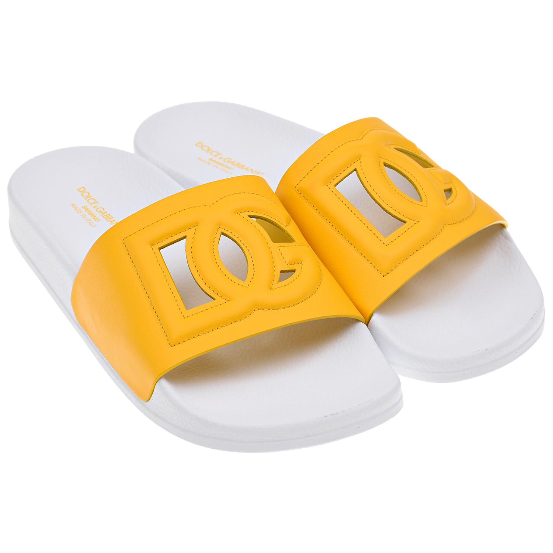 Купить Шлепки с логотипом Dolce&Gabbana детские, Желтый, верх:100% кожа, подкладка:95%кожа, 5% вискоза, стелька:100% резина, подошва:100% резина