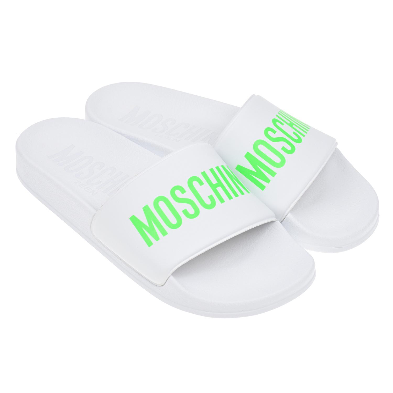 Купить Белые шлепки с логотипом Moschino детские, Белый, Верх:82%поливинилхлорид+17%полиэстер+1%иск. кожа, Подкладка:Без подкладки, Стелька:100% полиуретан, Подошва:100% полиуретан
