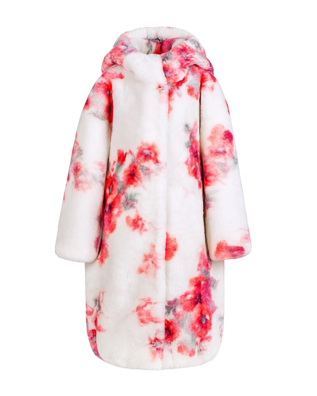 Купить Шуба с цветочным принтом Ploomlé детская, Мультиколор, 100%овчина, 55%вискоза+20%шелк+15%хлопок+10%полиэстер