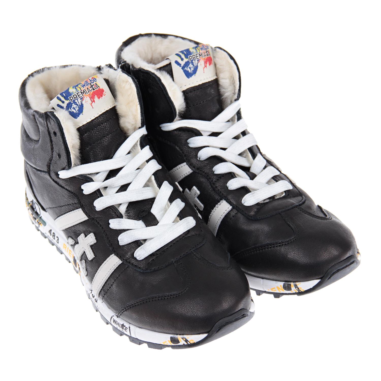 Кроссовки высокие will be PremiataКроссовки<br>Высокие черные кроссовки will be Premiata. Верх модели выполнен из натуральной кожи, подкладка  - натуральный мех. Подошва с рифлением изготовлена из полимерных материалов. Кроссовки дополнены шнуровкой и декорированы контрастными вставками. Застегиваются на молнию.