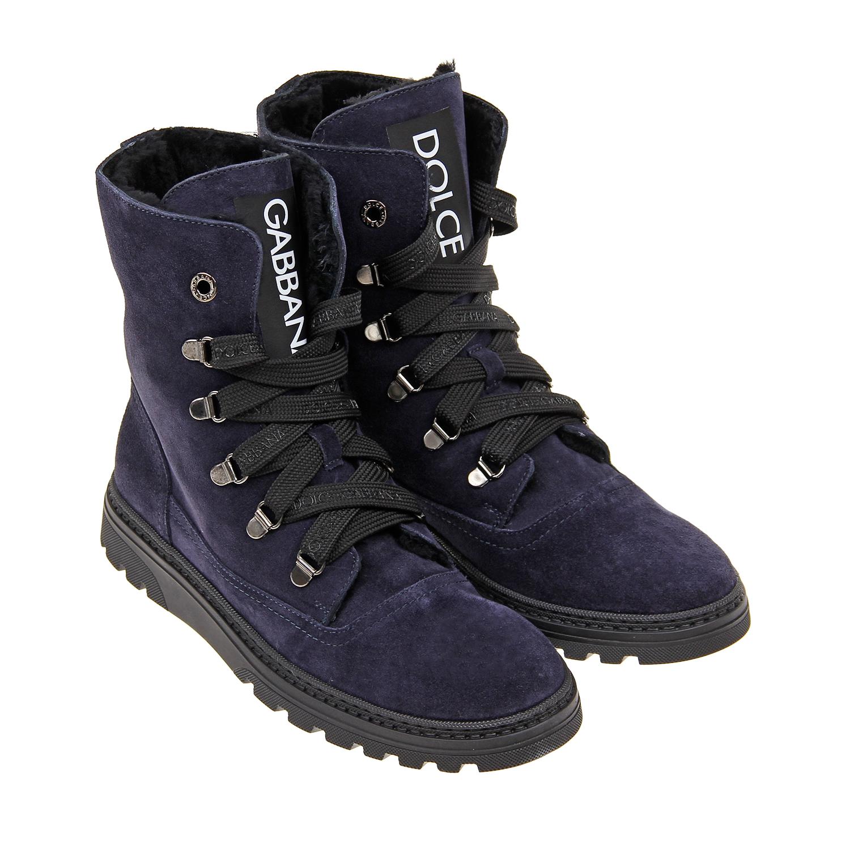 Купить Синие ботинки из замши с логотипом Dolce&Gabbana, Синий, верх-100%нат.кожа, подкладка-95%овчина+5%нат.кожа, подошва-100%резина