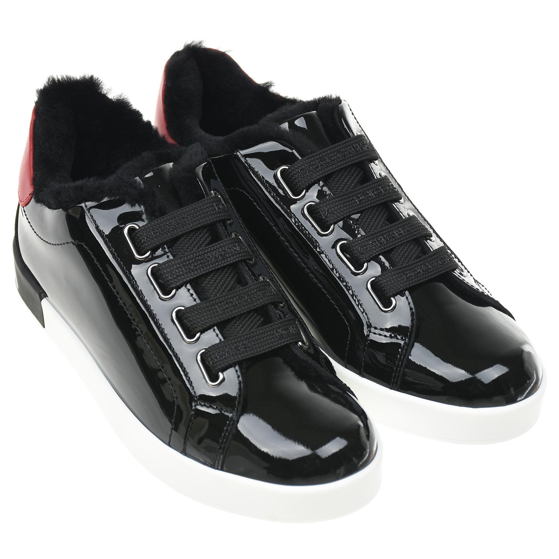 Купить Черные лакированные кеды Portofino Dolce&Gabbana, Черный, верх:100%нат.кожа, подкладка:100%нат.мех, стелька:картон, нат.кожа, пенополиуретан, подошва:100%резина