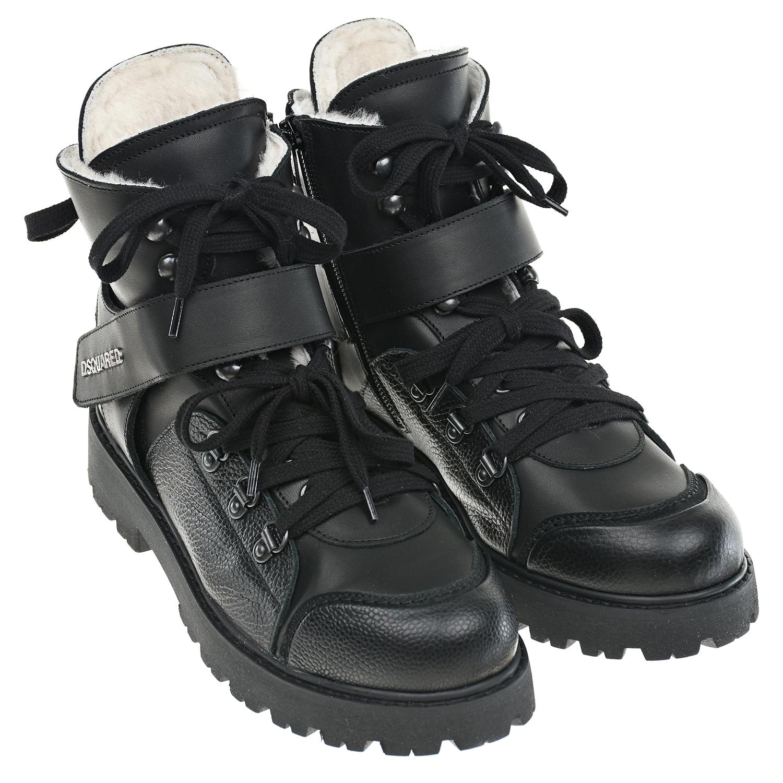 Черные ботинки с мехом Dsquared2 фото