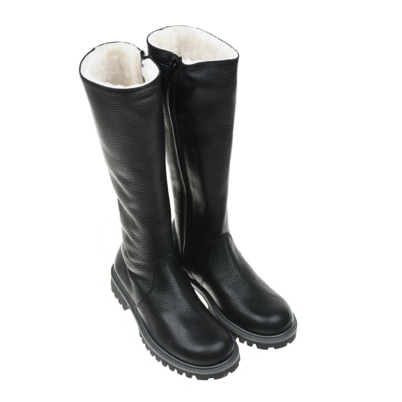 Черные кожаные сапоги с меховой подкладкой Gallucci фото
