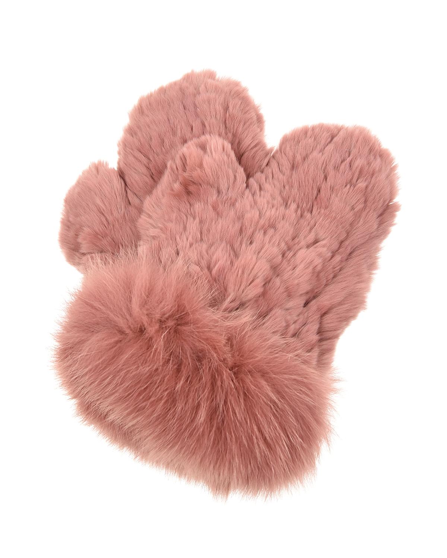 Купить Варежки из меха кролика рекс Yves Salomon детские, Нет цвета, мех лисы, мех кролика