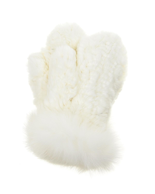 Белые варежки из меха кролика рекс Yves Salomon детские фото
