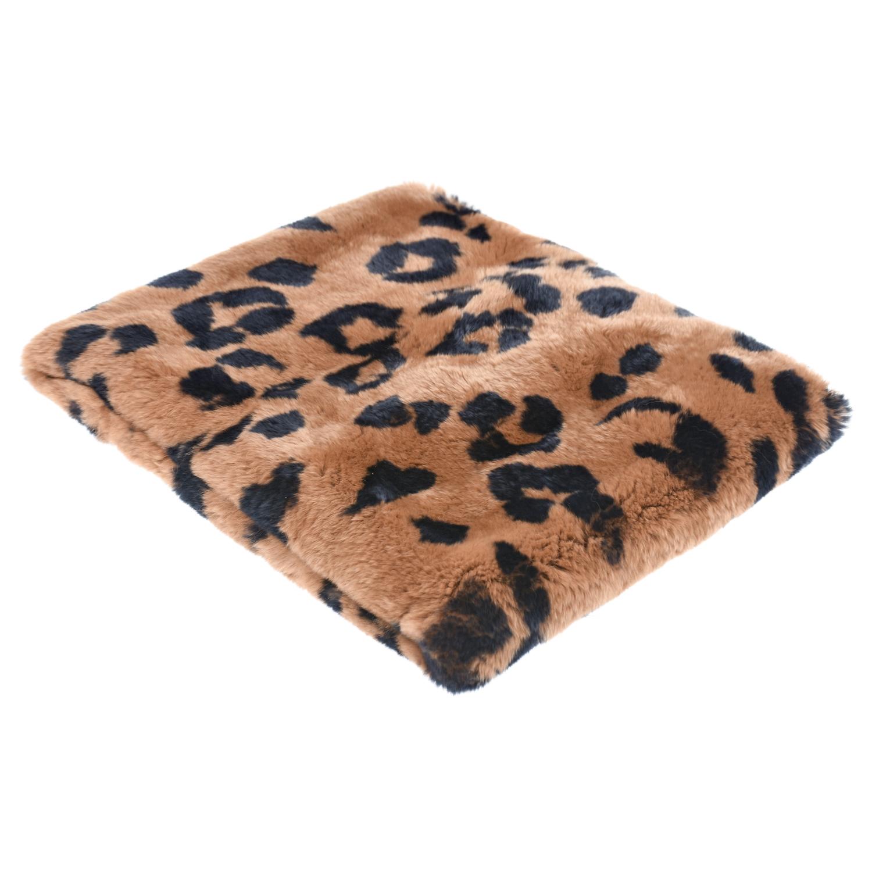 Купить Шарф из меха кролика рекс с леопардовым принтом Yves Salomon детский, Коричневый, мех кролика, 100%шелк