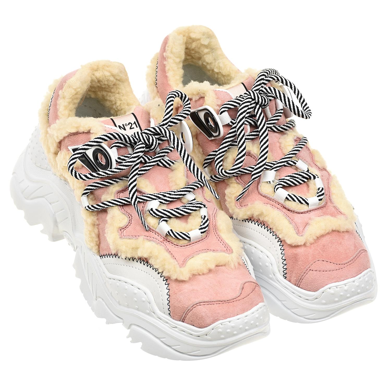 Купить Розовые кроссовки с меховой отделкой №21