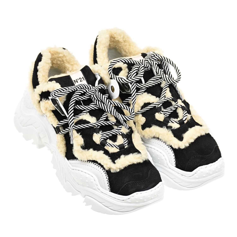 Купить Черные кроссовки с меховой отделкой №21