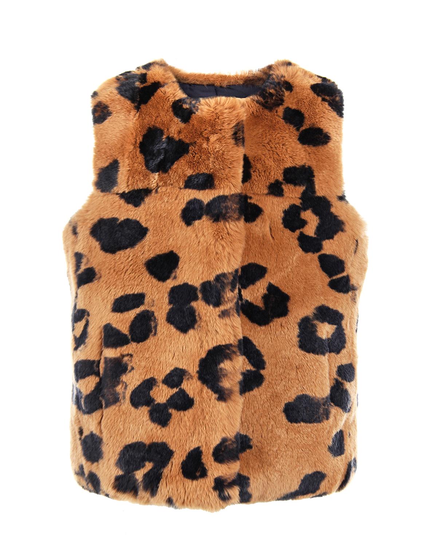 Купить Жилет из меха кролика рекс с леопардовым принтом Yves Salomon детский, Коричневый, мех кролика, 100%шелк