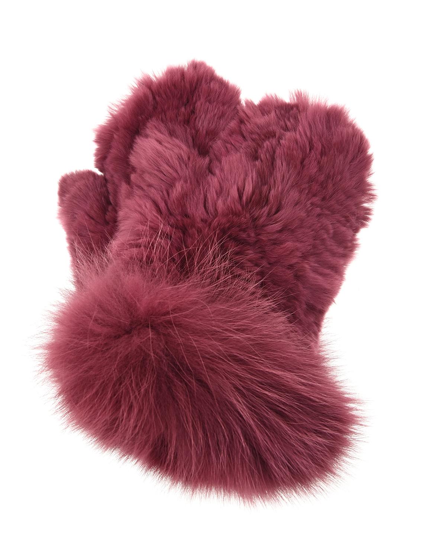 Купить Бордовые варежки из меха кролика рекс Yves Salomon детские, Бордовый, мех лисы, мех кролика