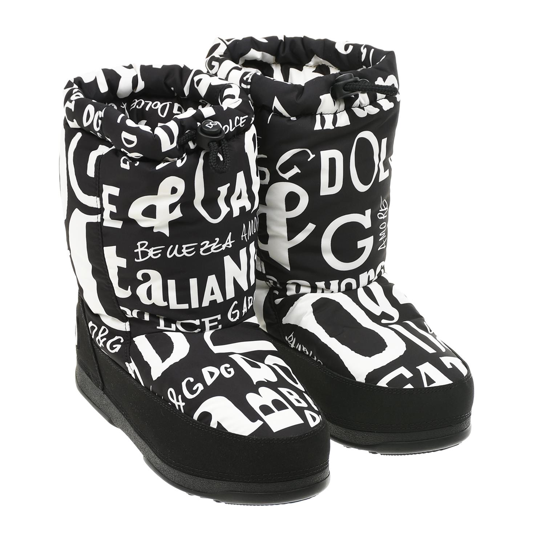 Черные мунбуты с белыми надписями Dolce&Gabbana детские