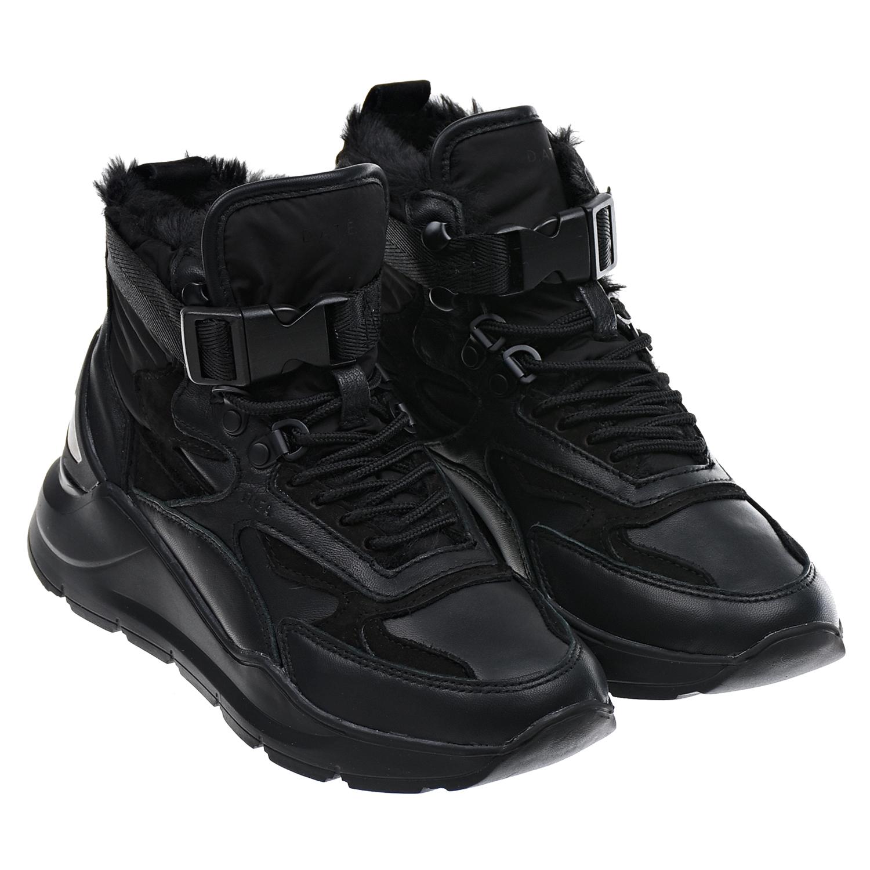 Купить Высокие черные кроссовки с меховой подкладкой D.A.T.E. детские, Черный, верх:55%кожа+45%текстиль, подкладка:100%искусст.мех, подошва:100%резина