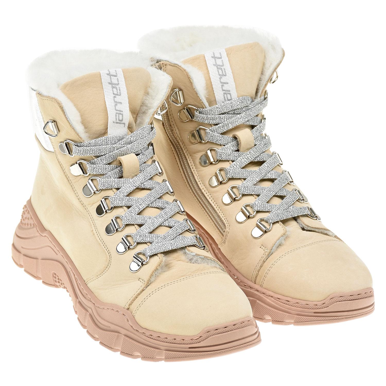 Купить Высокие кроссовки из нубука Jarrett детские, Бежевый, верх-100%нат.кожа, подкладка и стелька-100%нат.кожа, подошва-100%резина