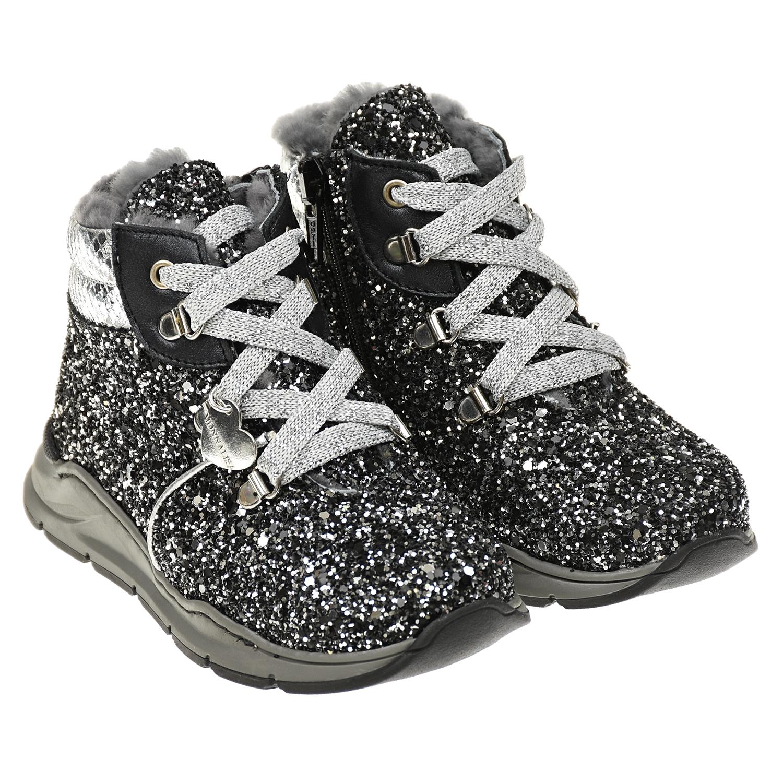 Купить Черные ботинки с глиттером Monnalisa детские, Черный, Верх:40%полиэстер+33%хлопок+27%полиуретан, Подкладка:100%нат.мех, Стелька:100%нат.мех, Подошва:100%эластодиен