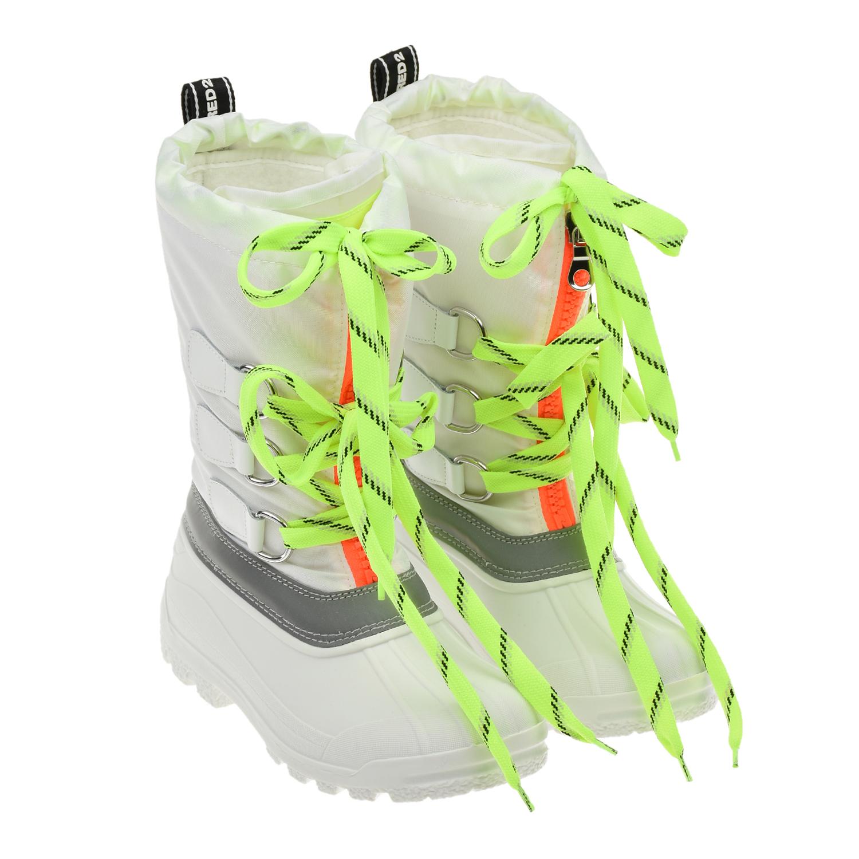Купить Белые мунбуты со шнуровкой Dsquared2 детские, Белый, верх-78%полиэстер+10%термопластиная резина+8%нат.кожа+3%полиуретан+1%хлопок, подкладка и стелька-100%полиэстер, подошва-100%термопластичная резина