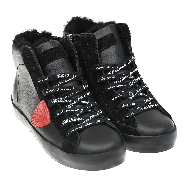 Купить Высокие утепленные черные кроссовки Philippe Model детские, Черный, Верх:100% кожа, Подкладка:100%мех, Стелька:100%шерсть, Подошва:100% резина