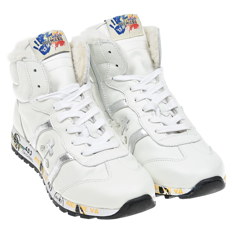 Купить Белые кроссовки с серебристым логотипом will be Premiata детские, Белый, Верх:100%нат.кожа, Подкладка:100%нат.мех, Стелька:100%нат.мех, Подошва:70%резина+30%ЭВА