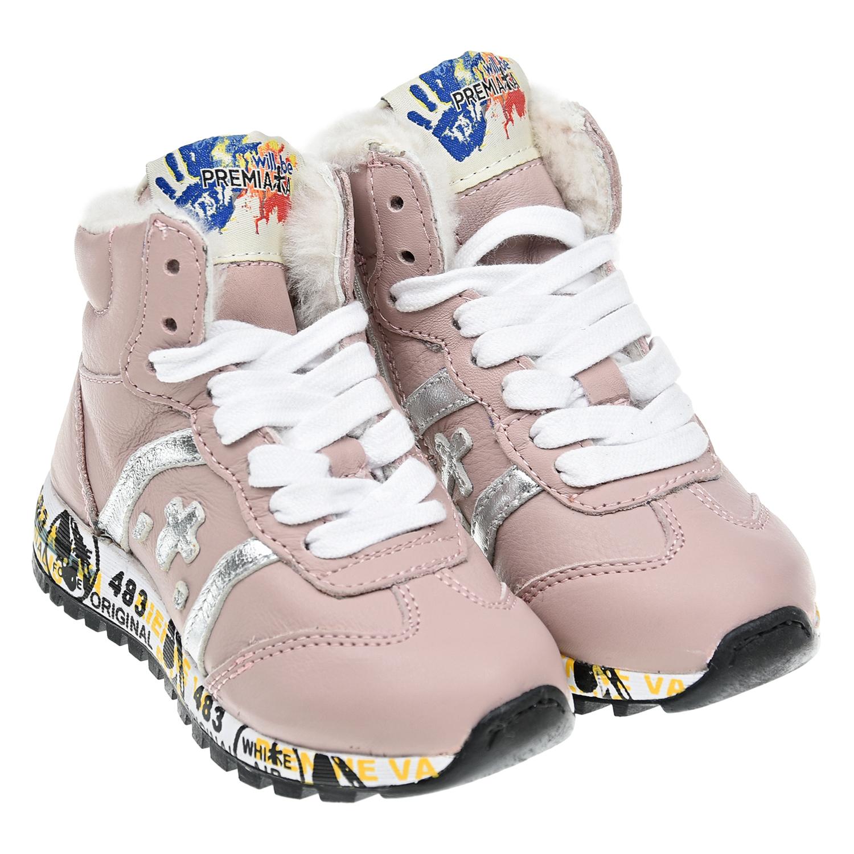 Купить Розовые кроссовки с серебристым логотипом will be Premiata детские, Розовый, Верх:100%нат.кожа, Подкладка:100%нат.мех, Стелька:100%нат.мех, Подошва:70%резина+30%ЭВА