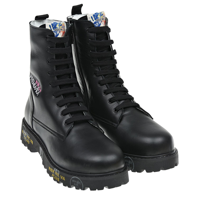 Купить Черные ботинки с принтом на подошве will be Premiata детские, Черный, Верх:100%нат.кожа, Подкладка:100%нат.мех, Стелька:100%нат.мех, Подошва:100%термопластичная резина