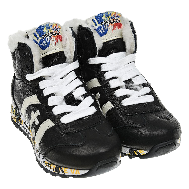 Купить Высокие кроссовки с мехом will be Premiata детские, Черный, Верх:100%нат.кожа, Подкладка:100%нат.мех, Стелька:100%нат.мех, Подошва:70%резина+30%ЭВА