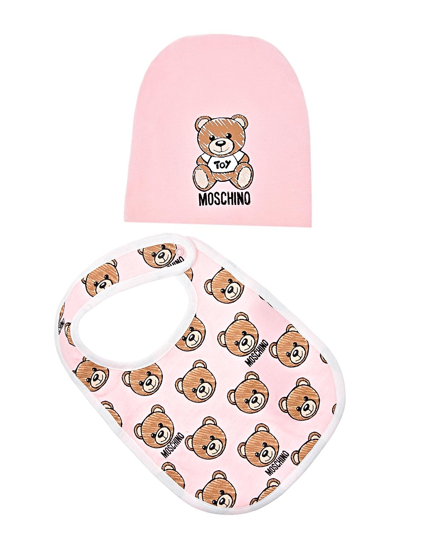 Купить Подарочный набор из шапочки и слюнявчика, розовый Moschino детский, Розовый, 100%хлопок, 95%хлопок+5%эластан