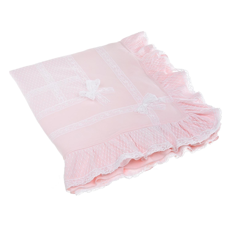 Розовый плед с отделкой кружевом Aletta розового цвета