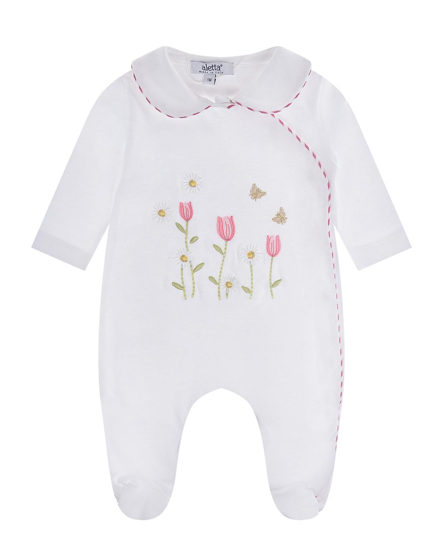 Купить Белый комбинезон с вышивкой Aletta детский, 100%хлопок