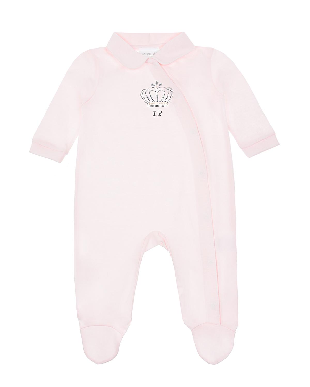 Купить Комбинезон с декором из стразов Корона La Perla детский, Розовый, 100%хлопок