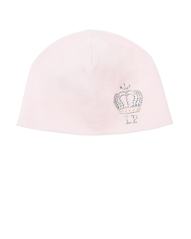 Купить Розовая шапка с декором из стразов Корона La Perla детская, Розовый, 100%хлопок
