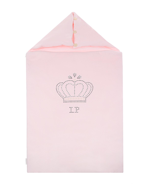 Купить Розовый конверт с логотипом и короной из страз La Perla детский, 100%хлопок