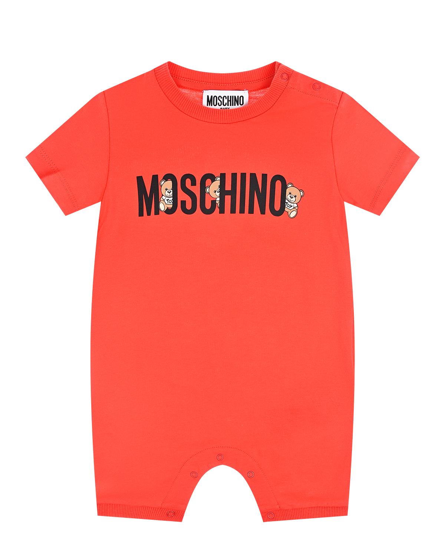 Красный песочник с логотипом Moschino детский фото