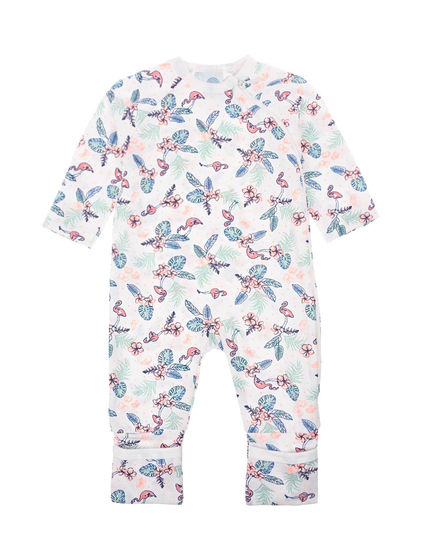 Купить Комбинезон с принтом фламинго Sanetta детский, Белый, 100%хлопок