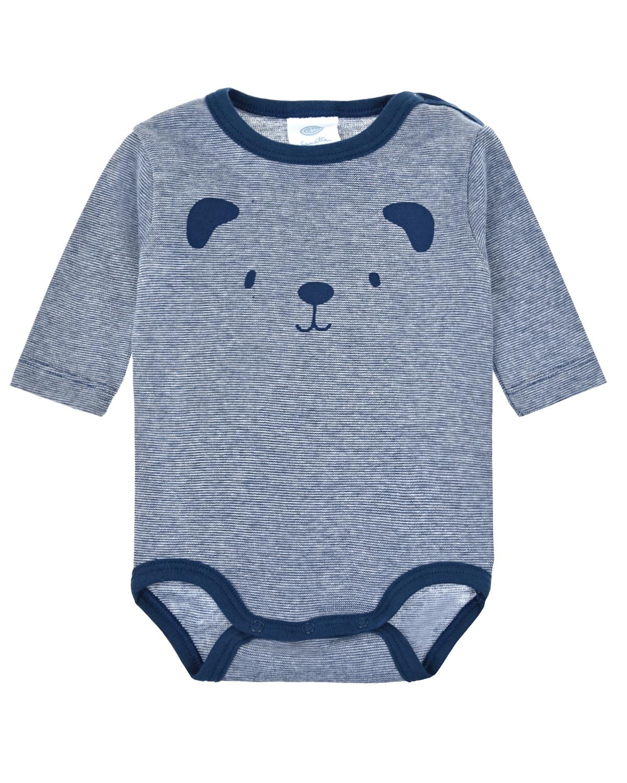Купить Боди в полоску с принтом Медвежонок Sanetta детское, Серый, 100%хлопок