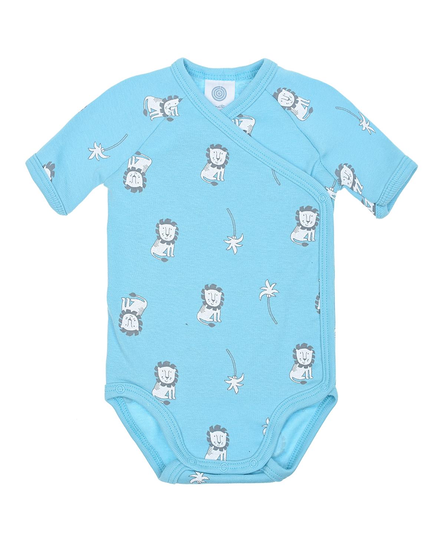 Купить Голубое боди с принтом львы Sanetta детское, Голубой, 100%хлопок