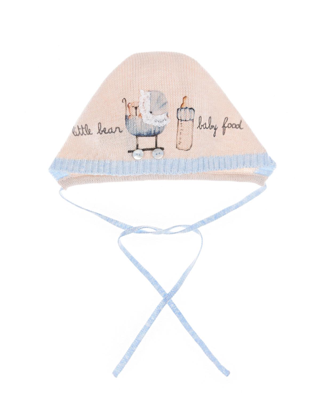 Купить Чепчик с принтом семья мишек , кремовый/голубой Boschinoni детский, Мультиколор, 100%хлопок
