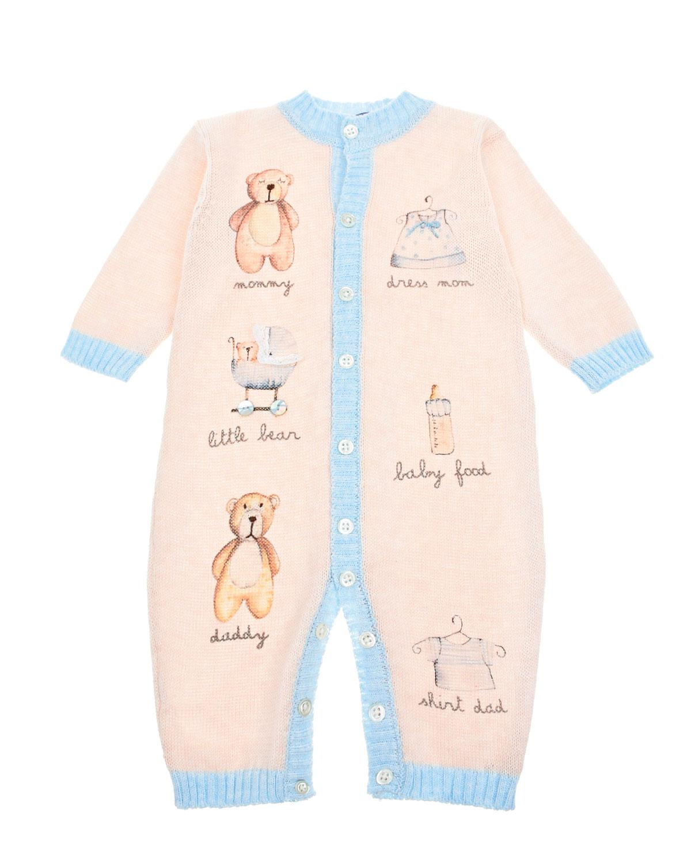 Купить Вязаный комбинезон с принтом мишки , light blue Boschinoni детский, Мультиколор, 100%хлопок