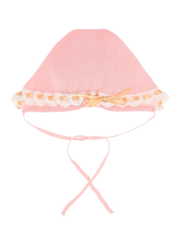 Розовый чепчик с рюшей и лентой Boschinoni детский фото
