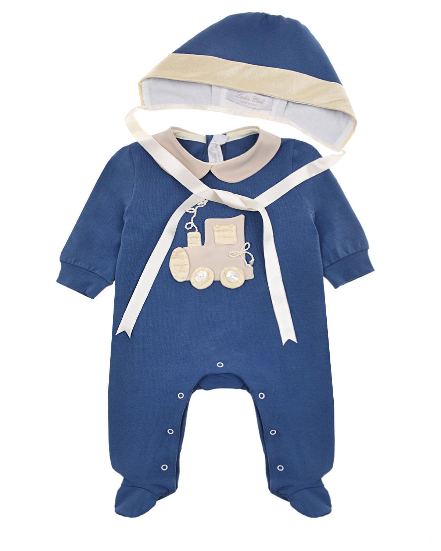 Купить Комплект из комбинезона и чепчика с аппликацией поезд Ladia Chic детский, Синий, 100%хлопок, 100%шелк