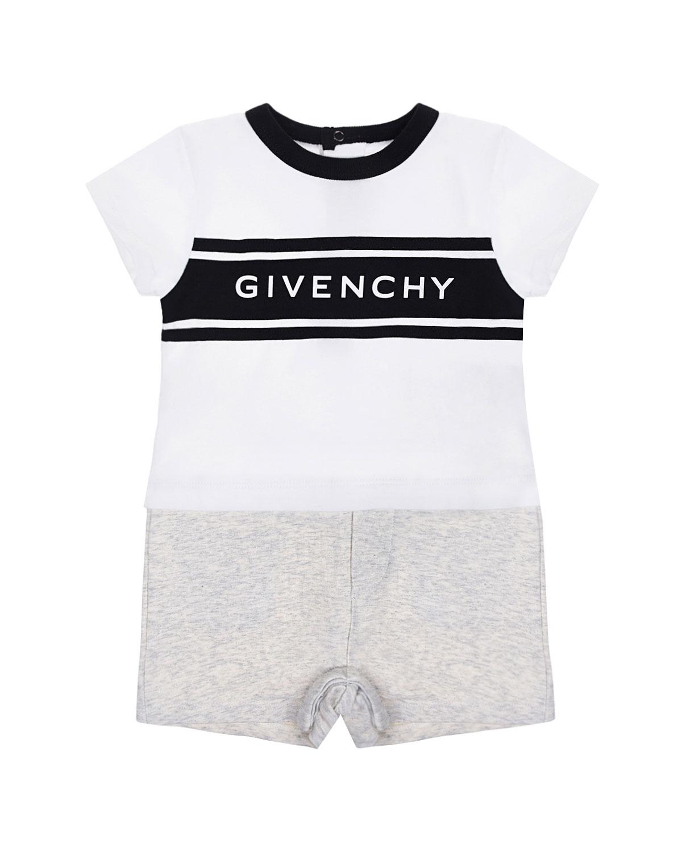 Купить Песочник с имитацией футболки и шорт Givenchy детский, Белый, 100%хлопок, 98%хлопок+2%эластан, 94%хлопок+6%эластан