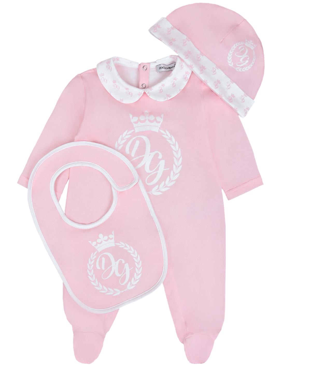 Купить Розовый комплект из комбинезона, шапки и слюнявчика Dolce&Gabbana детский, 100%хлопок