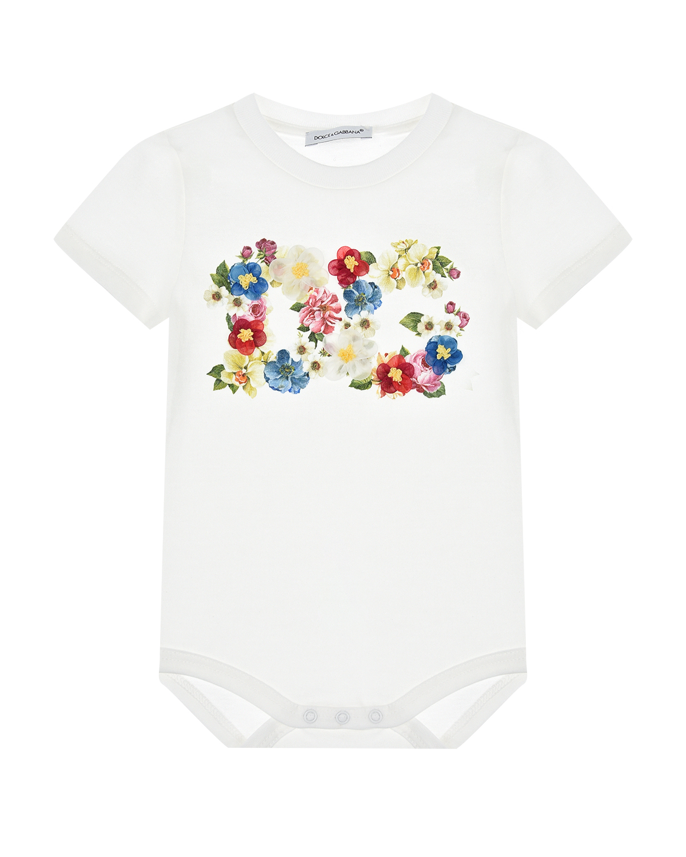 Песочник с цветочным принтом логотипа Dolce&Gabbana детский фото