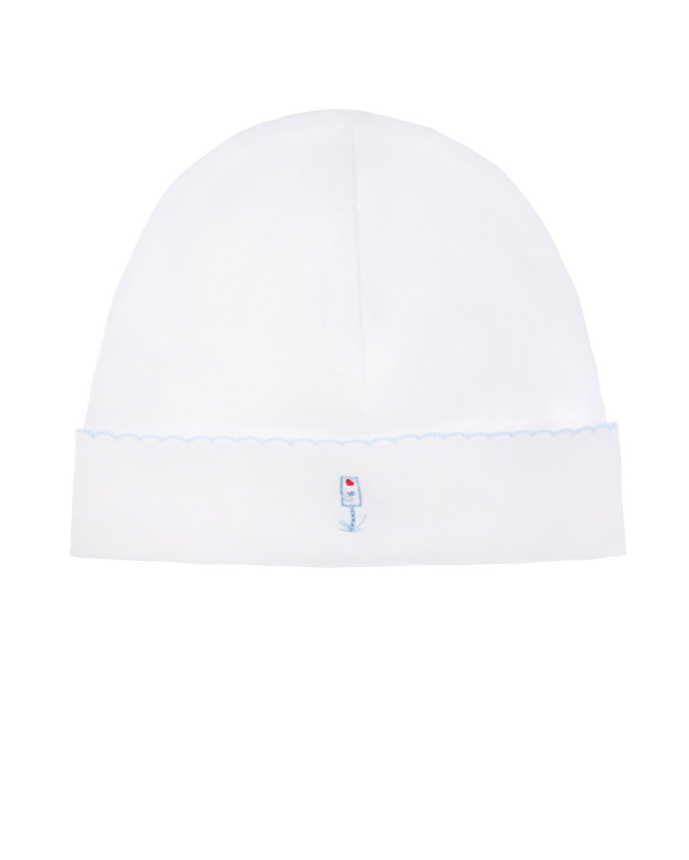 Купить Белая шапка из хлопка с вышивкой город Lyda Baby детская, Белый, 100%хлопок