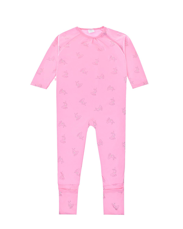 Купить Розовый комбинезон с принтом зайчики Sanetta детский, 100%хлопок