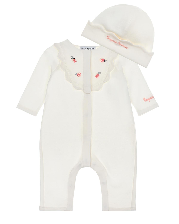 Купить Комплект из шапочки и комбинезона с цветочной аппликацией Emporio Armani детский, Белый, 100%хлопок