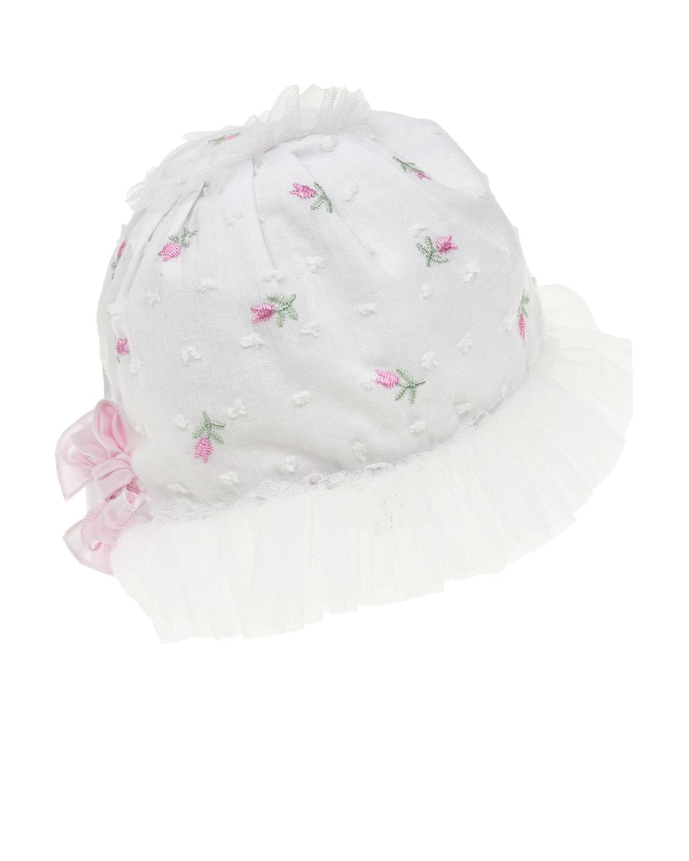 Купить Белый чепчик с цветочной вышивкой Aletta детский, Мультиколор, 90%хлопок+10%вискоза, 100%хлопок