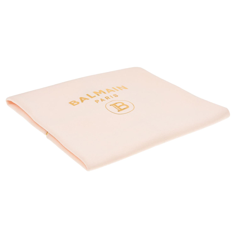 Купить Розовый плед с золотым логотипом Balmain детский, Нет цвета, 80% хлопок+20% полиамид, 100%хлопок
